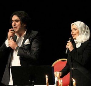 عکس اینستاگرام مانی رهنما در کنار همسر دومش صبا راد در اجرای کنسرت